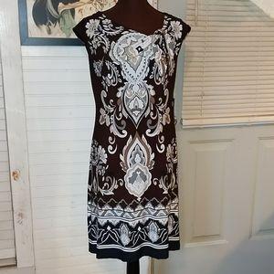 Carole Little Print Dress with Knot-Tie Neckline
